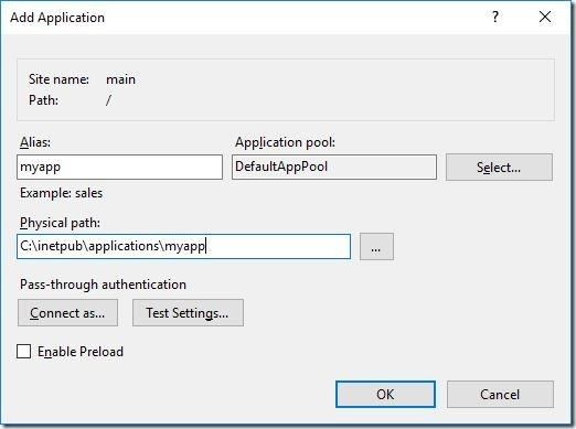 IIS - add web application